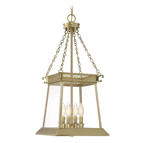Savoy House Savoy House Lighting Norwich Warm Brass Lustre Pendant Light with Square Shade 3-940-4-63
