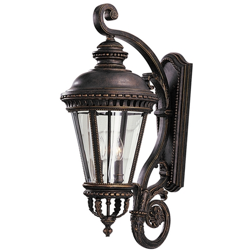 Feiss Lighting Outdoor Wall Light with Clear Glass in Grecian Bronze Finish OL1904GBZ