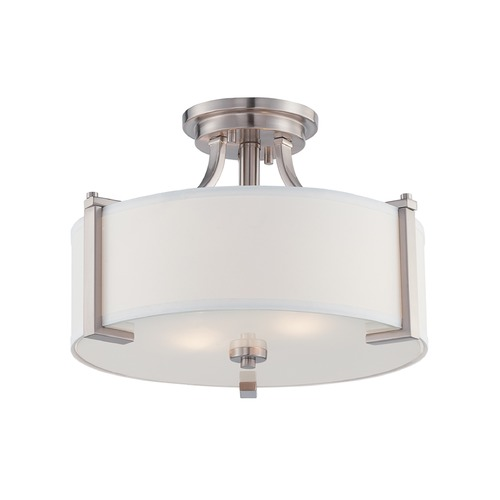 Designers Fountain Lighting Designers Fountain Axel Satin Platinum Semi-Flushmount Light 86211-SP