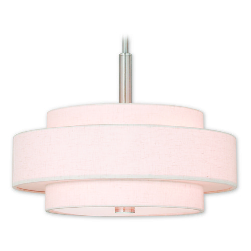 Livex Lighting Livex Lighting Meridian Brushed Nickel Pendant Light with Drum Shade 52137-91