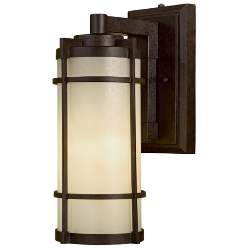 Minka Lavery Modern Outdoor Wall Light with White Glass in Textured French Bronze Finish 72023-A179-PL