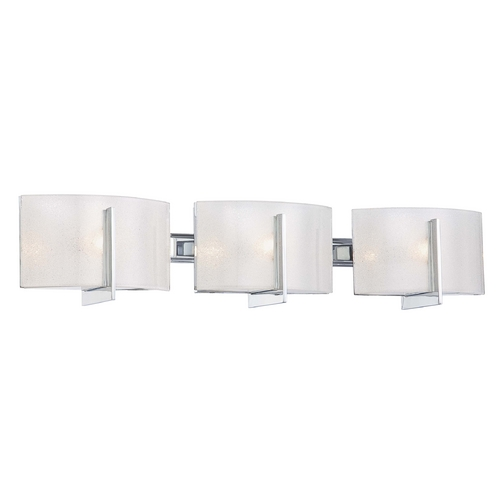 Minka Lavery Bathroom Light with White Glass in Chrome Finish 6393-77