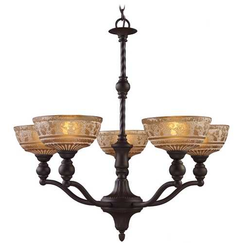 Elk Lighting Chandelier with Amber Glass in Oiled Bronze Finish 66197-5