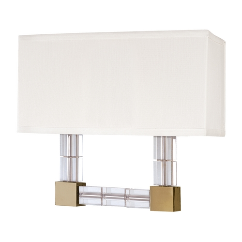 Hudson Valley Lighting Hudson Valley Vintage Crystal Brass Sconce Light with White Shade 7102-AGB