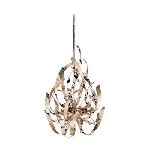 Corbett Lighting Corbett Lighting Graffiti Silver Leaf and Poli Pendant Light 154-43