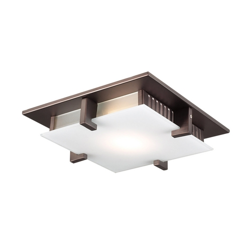 PLC Lighting Modern Flushmount Light with White Glass in Oil Rubbed Bronze Finish 907  ORB