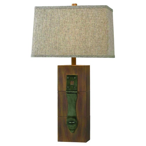 Kenroy Home Lighting Kenroy Home Locke Wood Grain Table Lamp with Rectangle Shade 32091WDG