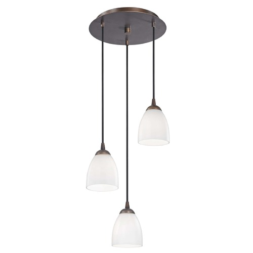 Design Classics Lighting Modern Multi-Light Pendant Light with White Glass and 3-Lights 583-220 GL1024MB