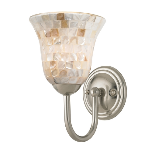 Design Classics Lighting Sconce with Mosaic Glass in Satin Nickel Finish 593-09 GL9222-M