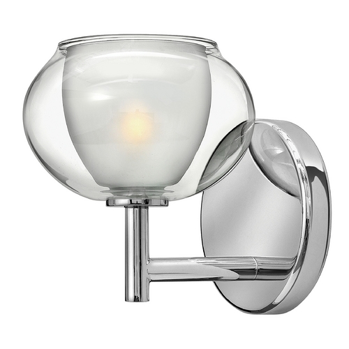 Hinkley Lighting Modern Sconce Wall Light with Clear Glass in Chrome Finish 50200CM