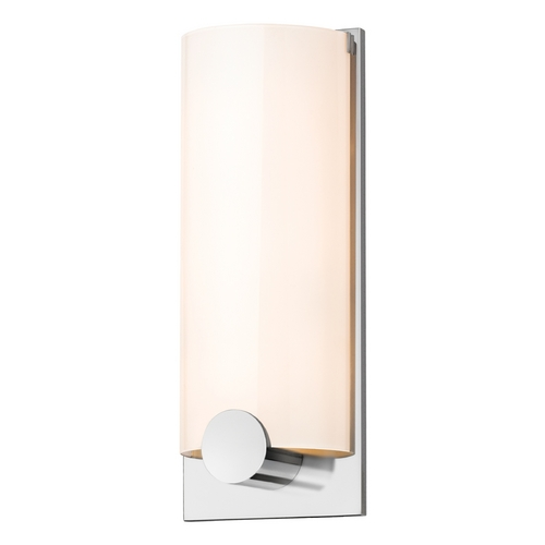 Sonneman Lighting Modern Sconce Wall Light with White Glass in Polished Chrome Finish 3663.01