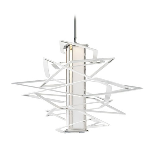 Corbett Lighting Corbett Lighting Tantrum White / Polished Stainless LED Pendant Light with Rectangle Shade 185-41