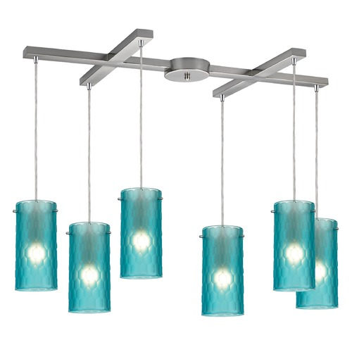 Elk Lighting Elk Lighting Synthesis Satin Nickel Multi-Light Pendant with Cylindrical Shade 10243/6FA