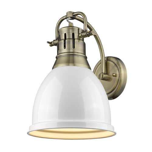Golden Lighting Golden Lighting Duncan Ab Aged Brass Sconce 3602-1W AB-WH