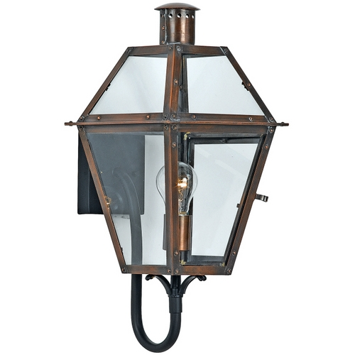 Quoizel Lighting Outdoor Wall Light with Clear Glass in Aged Copper Finish RO8410AC