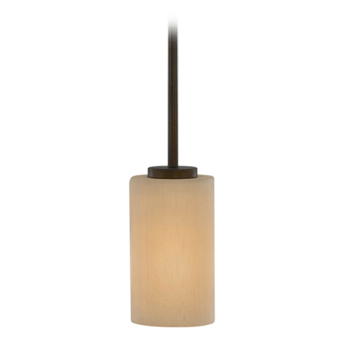 Feiss Lighting Modern Mini-Pendant Light with Amber Glass P1186HTBZ