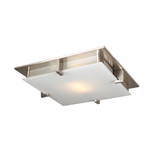 PLC Lighting Modern Flushmount Light with White Glass in Satin Nickel Finish 906 SN