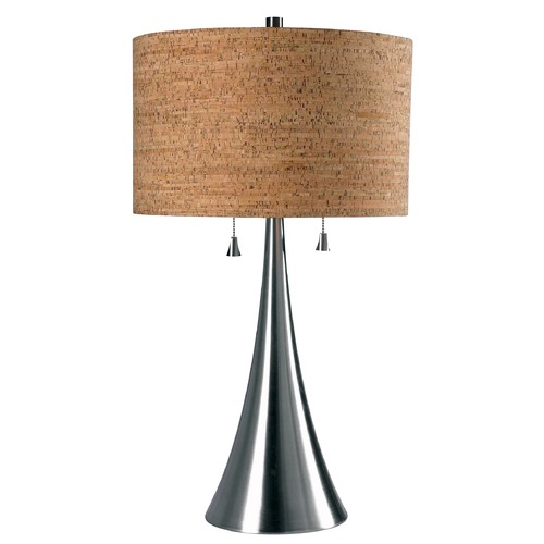 Kenroy Home Lighting Modern Table Lamp with Brown Shade in Brushed Steel Finish 32092BS