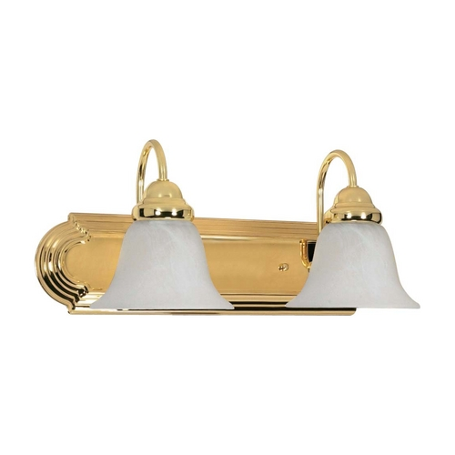 Nuvo Lighting Bathroom Light with Alabaster Glass in Polished Brass Finish 60/328