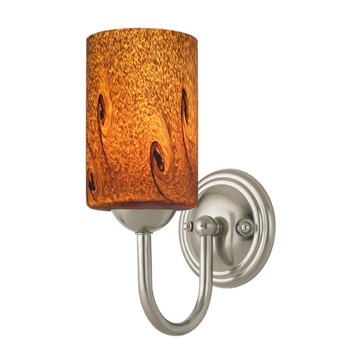 Design Classics Lighting Sconce with Brown Art Glass in Satin Nickel Finish 593-09 GL1001C