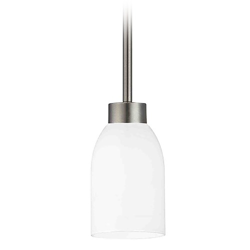 Design Classics Lighting Modern Mini-Pendant Light with White Glass 1123-1-09 GL1028D