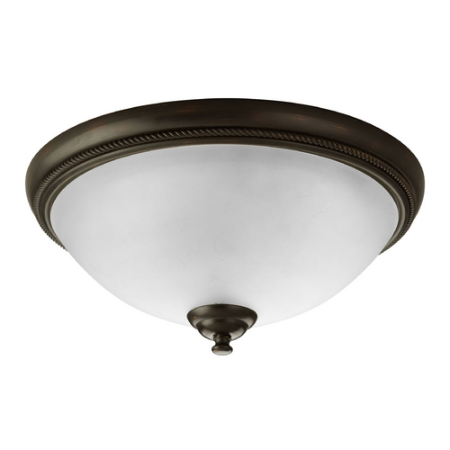 Progress Lighting Progress Flushmount Light with White Glass in Antique Bronze Finish P3479-20