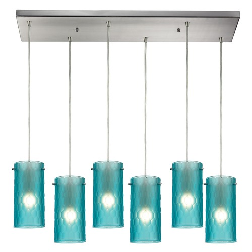 Elk Lighting Elk Lighting Synthesis Satin Nickel Multi-Light Pendant with Cylindrical Shade 10243/6RC-FA
