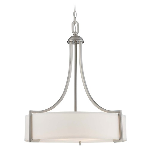 Savoy House Savoy House Satin Nickel Pendant Light with Drum Shade 7P-7216-3-SN