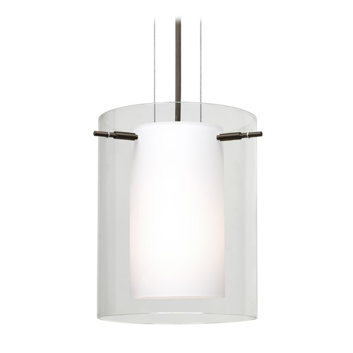 Besa Lighting Besa Lighting Pahu Bronze LED Mini-Pendant Light with Cylindrical Shade 1KG-C00607-LED-BR