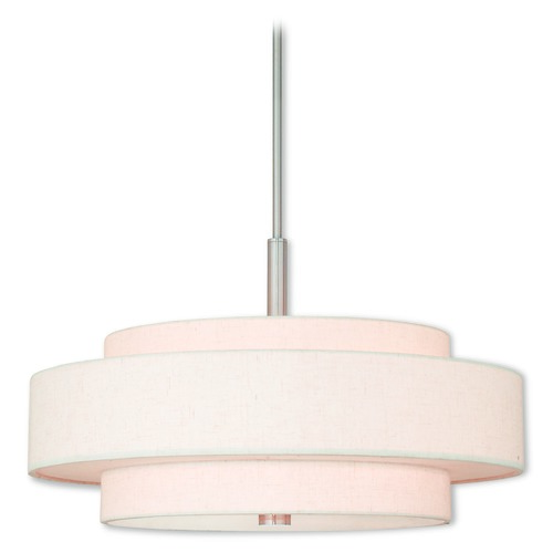 Livex Lighting Livex Lighting Meridian Brushed Nickel Pendant Light with Drum Shade 52138-91