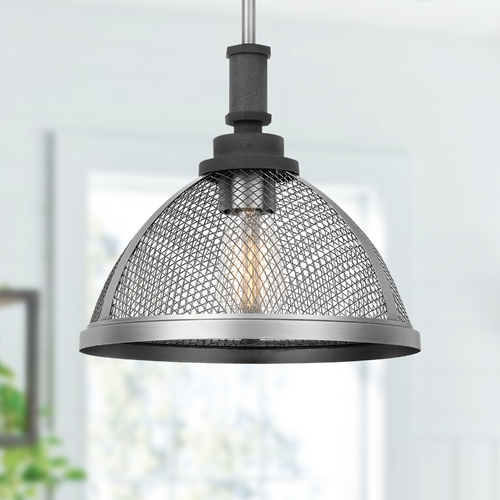 Quoizel Lighting Quoizel Lighting Awning Mottled Black Pendant Light with Bowl / Dome Shade AW1511MB