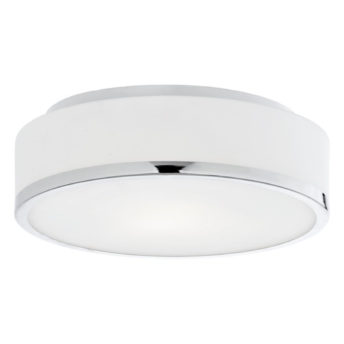 Kuzco Lighting Modern Chrome LED Flushmount Light with White Opal Shade 3000K 1150LM FM6012-CH