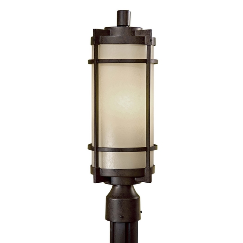 Minka Lavery Modern Post Light with White Glass in Textured French Bronze Finish 72026-A179-PL