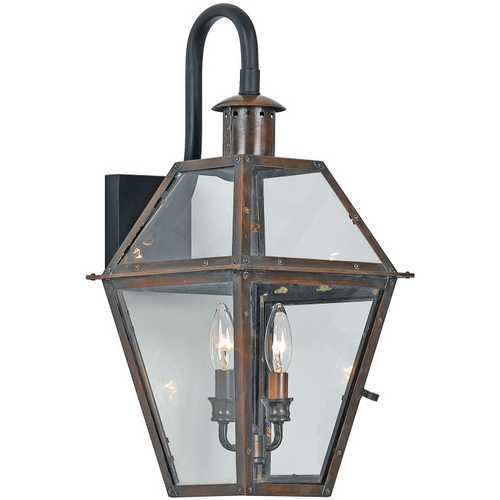 Quoizel Lighting Outdoor Wall Light with Clear Glass in Aged Copper Finish RO8411AC