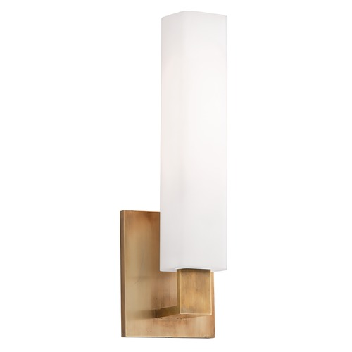 Hudson Valley Lighting Modern Bathroom Light with White Glass in Aged Brass Finish 550-AGB