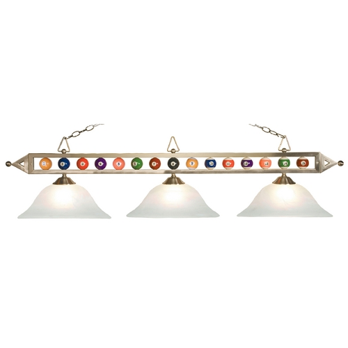 Elk Lighting Modern Billiard Light with Alabaster Glass in Satin Nickel Finish 190-1-SN-G1