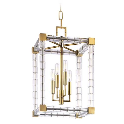 Hudson Valley Lighting Hudson Valley Vintage Crystal Pendant Light in Aged Brass Finish 7113-AGB