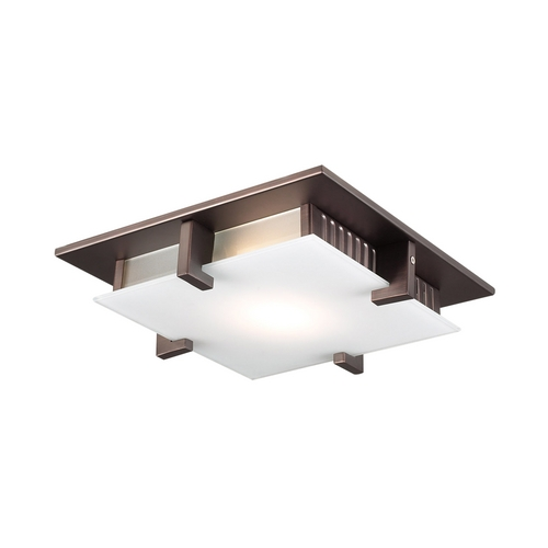 PLC Lighting Modern Flushmount Light with White Glass in Oil Rubbed Bronze Finish 906  ORB