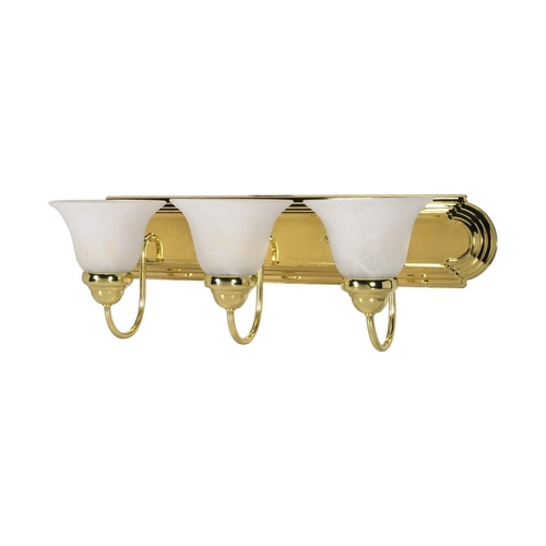 Nuvo Lighting Bathroom Light with Alabaster Glass in Polished Brass Finish 60/329