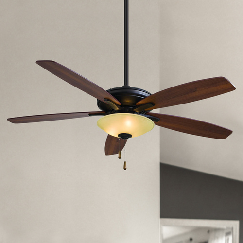 Minka Aire 52-Inch Ceiling Fan with Light with Amber Glass in Oil Rubbed Bronze Finish F522-ORB/TS
