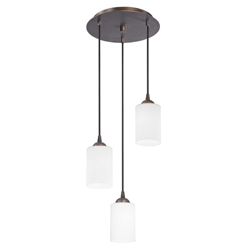 Design Classics Lighting Modern Multi-Light Pendant Light with White Glass and 3-Lights 583-220 GL1028C