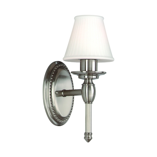 Hudson Valley Lighting Sconce Wall Light with White Shade in Satin Nickel Finish 6161-SN