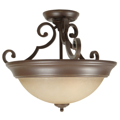Jeremiah Lighting Jeremiah Aged Bronze Textured Semi-Flushmount Light X724-AG