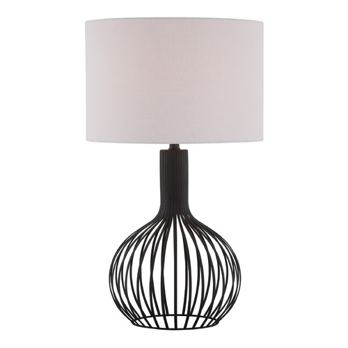 Lite Source Lighting Lite Source Earleen Black Table Lamp with Drum Shade LS-22744