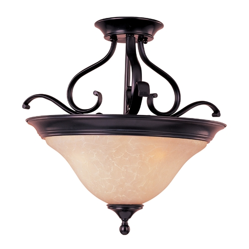 Maxim Lighting Semi-Flushmount Light with Beige / Cream Glass in Oil Rubbed Bronze Finish 85802WSOI