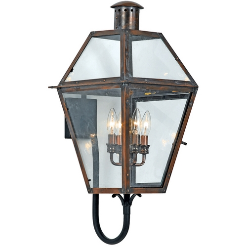 Quoizel Lighting Outdoor Wall Light with Clear Glass in Aged Copper Finish RO8414AC