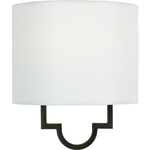 Quoizel Lighting Modern Sconce Wall Light with White Shade in Teco Marrone Finish LSM8801TM