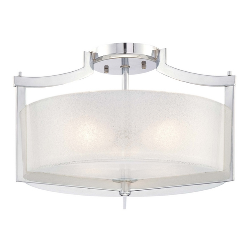 Minka Lavery Modern Semi-Flushmount Light with White Glass in Chrome Finish 4397-77