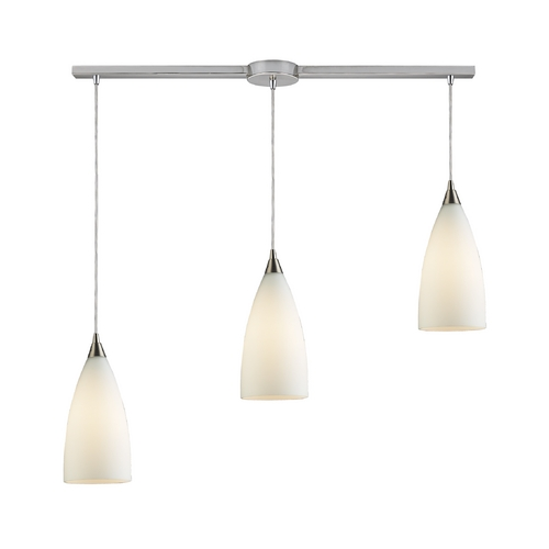 Elk Lighting Modern Multi-Light Pendant Light with White Glass and 3-Lights 2580/3L