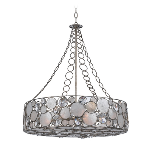 Crystorama Lighting Crystal Drum Pendant Light with White Glass in Antique Sliver Finish 528-SA